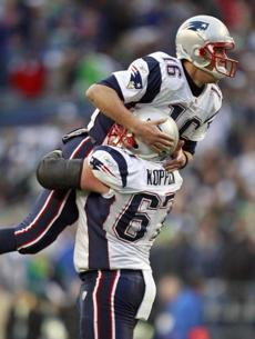 Dan Koppen hoisted Matt Cassel after the quarterback completed a pass to Wes Welker for a two-point conversion in the fourth quarter.