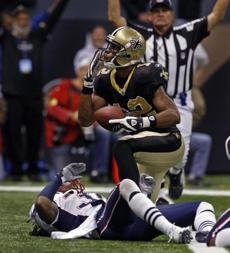 The Saints' Marques Colston celebrated after scoring a fourth quarter touchdown.