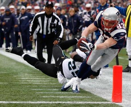 Wes Welker was pushed out of bounds before he could reach the pylon on this play.