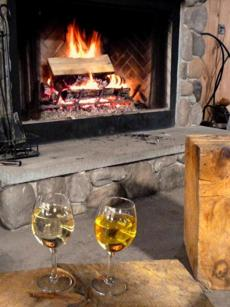 The stone fireplace at the Hilltop Nordic Center was a great spot to enjoy a glass of wine from Furnace Brook Winery.