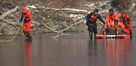 Rescue workers from the Animal Rescue League and Waltham firefighters freed a deer trapped on a frozen pond in Waltham. The animal was in poor condition and was later euthanized.