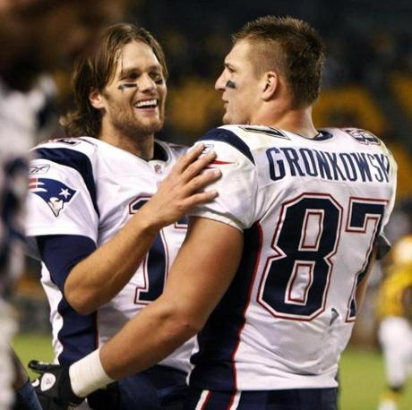 Tom Brady and Rob Gronkowski celebrated after hooking up for their third touchdown pass of the game.