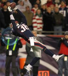 This interception by James Sanders ended the Colts' last drive and clinched the win for New England.