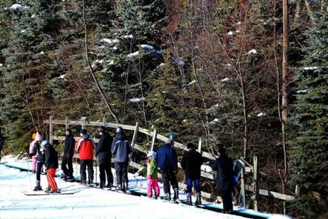 The magic carpet took skiers and snowboarders to one of the mountain's learning areas.