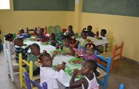 Children ate in the dining room in the new orphanage, into which dozens of children were moved last year.