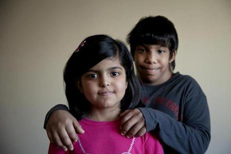 The family of Almas, 8, front, and Abdulallah, 11, Alhazmi  moved from Saudi Arabia to Quincy so the children could be treated for a rare genetic disorder, Diamond Blackfan Anemia, at Children's Hospital in Boston.