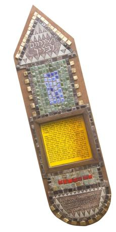 TILED MEZUZAH Awelcome prayer that Jews are required to place at doorways, created by Holleman. Valued at $500-$600.