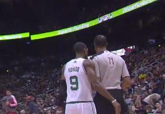 Rajon Rondo made contact with an official during Saturday's game against the Atlanta Hawks.