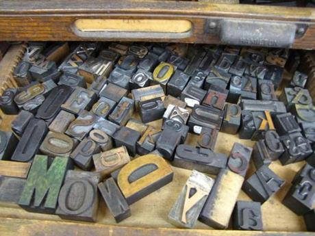 A drawer full of letters at PRESS, a hybrid teaching and gallery space for letterpress printing in North Adams.