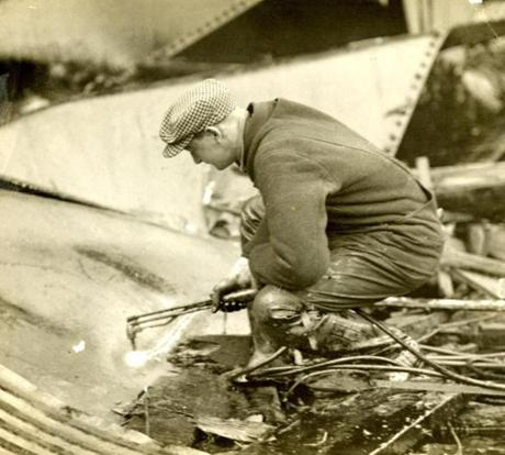 January 20, 1919: Welders carefully began cutting up the molasses tank with torches in the search for bodies. Even though firemen constantly sprayed water upon the twisted wreckage, it wasn't until the city of Boston ordered powerful streams from the city fireboat that the molasses began to disappear. The salt water of the harbor