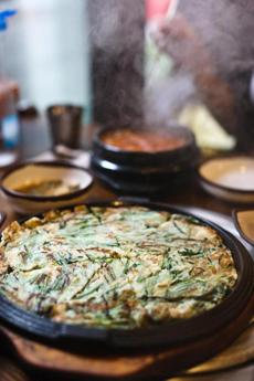 Savory pancakes known as jeon or pajeon.