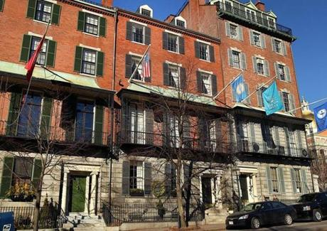 The Greek Revival mansion is on one of the most desirable streets in Boston, atop Beacon Hill.