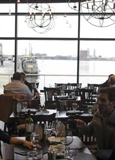 View from the dining area at 75 On Liberty Wharf restaurant.