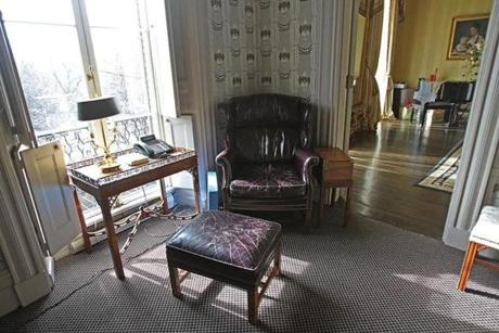The small, sunny reading room on the second floor where Menino often works or reads.