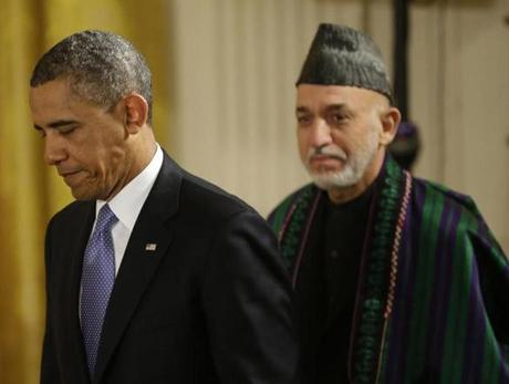 President Barack Obama and Afghan President Hamid Karzai arrived for their joint news conference.