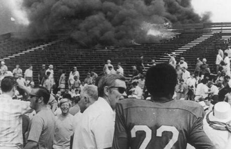 In 1970, a fire broke out in the Alumni Field stands at Boston College.