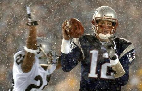 "The Patriots beat the Oakland Raiders in overtime in a 2002 game now known as the ""Snow Bowl."""