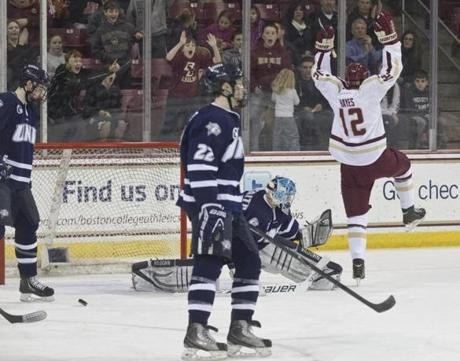 Boston College Eagles Kevin Hayes celebrated his goal against the University of New Hampshire Wildcats during first-period action at Conte Forum in Chestnut Hill.