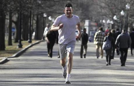 Peter Murphy ran through Boston Common during his lunch hour.