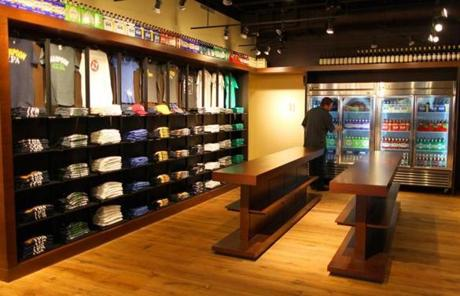 A new shop inside near the brew hall sells t-shirts and beer.