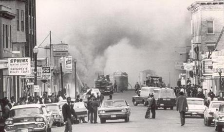 April 5, 1968: Outrage at the assassination of the Rev. Martin Luther King Jr. resulted in unrest in many US cities, including Boston.  Blue Hill Avenue, shown here, was the site of some demonstrations and vandalism.