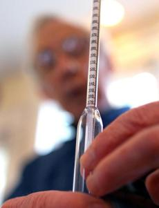 A hydrometer can be used to help calculate the alcohol content.
