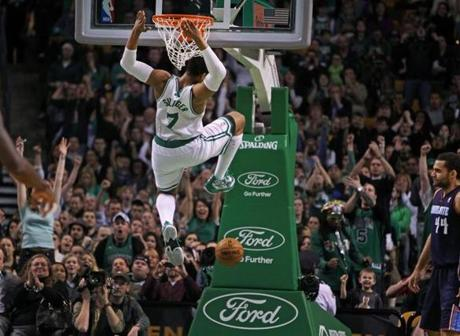 Celtics power forward Jared Sullinger brought the crowd out of their seats as he slammed two fourth-quarter points to put Boston ahead of the Charlotte Bobcats 78-70 at the TD Garden.