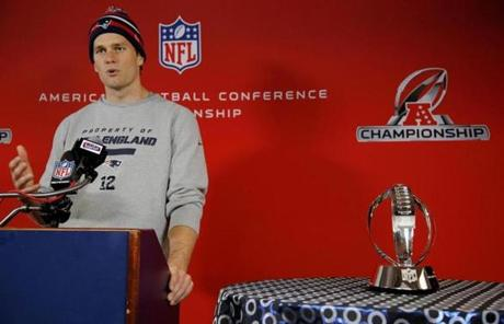 Tom Brady met a room packed with reporters as the Patriots and Ravens prepared for the AFC title game on Wednesday.