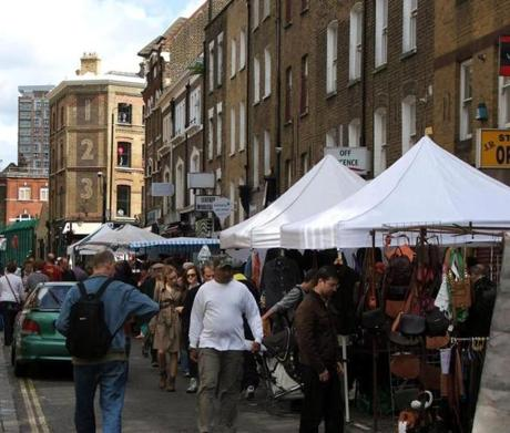 Brick Lane Market, running up to Bethnal Green Road in Shoreditch.