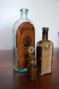 Bottles from the Public Health Museum at Tewksbury Hospital.