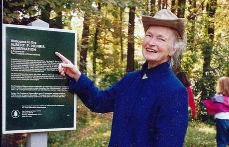 Eleanor Norris at the 1970 dedication of the Albert F. Norris Reservation in Norwell, named after her late husband.