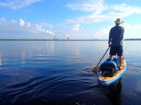 Gabriel Gray paddles along the St. Johns River toward Jacksonville last year.