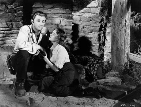 "Robert Mitchum and Teresa Wright in ""Pursued,"" a 1947 film directed by Raoul Walsh."