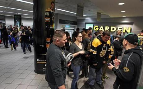 Fans lined up outside the entrance at the TD Garden Wednesday before the Boston Bruins' exhibition game.