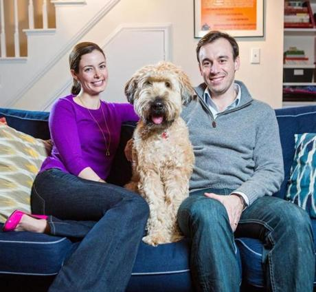 Devin Murphy and her husband Patrick Murphy with their dog Hank. The couple was married on July 14, 2012 and used a wedding website to connect with family and friends.