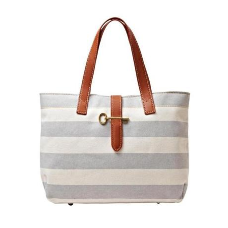"""Austin"" canvas and leather striped shopper, $148 at Fossil, 359 Newbury Street, Boston, 617-236-2068, and Legacy Place, Dedham, 781-407-0150, fossil.com"