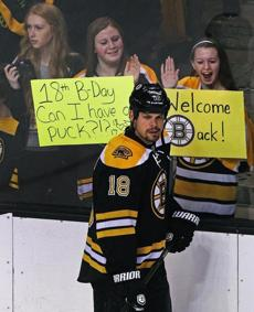 Signs points to the fans being happy to have Nathan Horton and the Bruins back after the long NHL lockout.