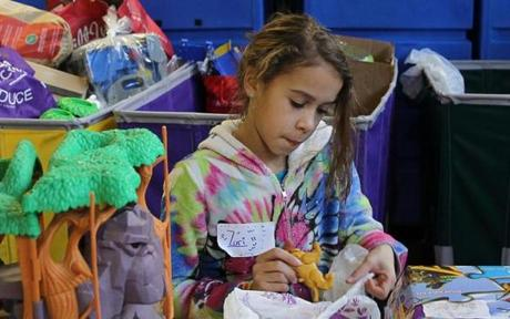 Zuri Kilson-Kuchtic, 10, helped at Cradles to Crayons in Brighton.
