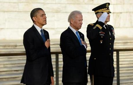 President Obama, Vice President Biden, and Major General Michael S. Linnington participated in a wreath-laying ceremony at the Tomb of the Unknown Solider in Arlington National Cemetery.