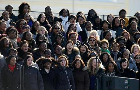 A chorus rehearsed on the steps of the US Capitol for Monday's inauguration ceremony.
