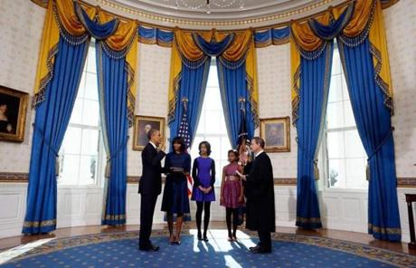 The ceremony was conducted in the Blue Room at the White House.