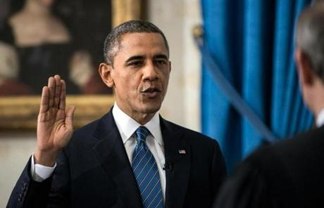President Obama took the oath of office for his second term before noon on Sunday.