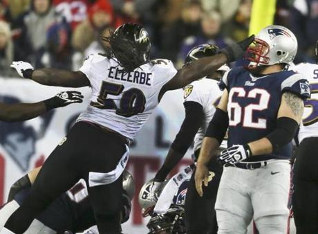 Dannell Ellerbe slaps Ryan Wendell in the helmet in the first quarter.