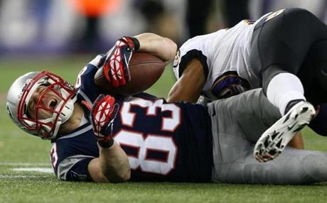 Wes Welker of Patriots reacts after a play.
