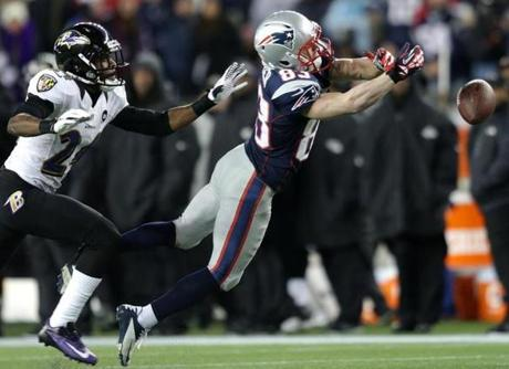 New England Patriots wide receiver Wes Welker can't come up with the reception on this pass.