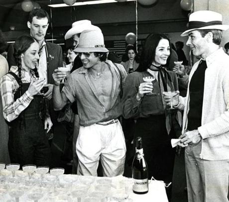 May 28, 1980: Members of the Boston Ballet shared champagne toasts at Logan Airport before leaving for China. The company was beginning a 12-week world tour which, when they opened with