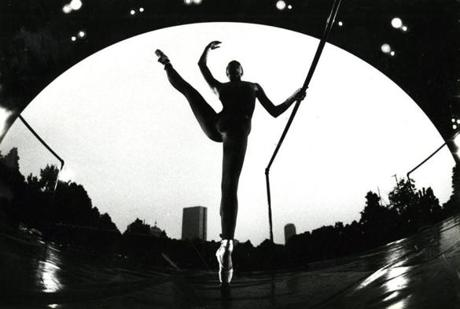 August 6, 1986: Karen Martin, a member of the Boston Ballet II ensemble, practiced at the Hatch Shell for her upcoming performance on the Esplanade. The annual summer concerts of the Boston Ballet II showcased young performers ranging in age from 15 to 22.