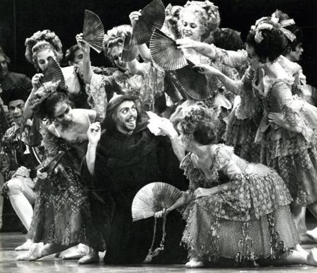 October 23, 1985: Dancer Victor LaCasse was surrounded by women in this dress rehearsal for Don Quixote at the Wang Center, choreographed by Rudolf Nureyev.