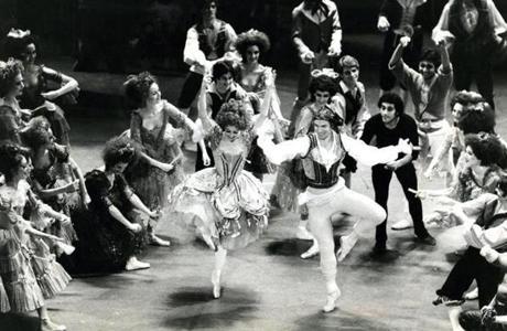 March 10, 1982: Rudolf Nureyev and Laura Young in rehearsal for Don Quixote. The 43-year old Nureyev danced the role of Basilio.
