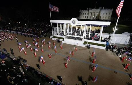The Boston Crusaders Drum & Bugle Corps performed while passing the presidential box in the parade.